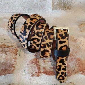Banana Republic Accessories - Banana Republic Calf Hair Leopard Skinny Belt